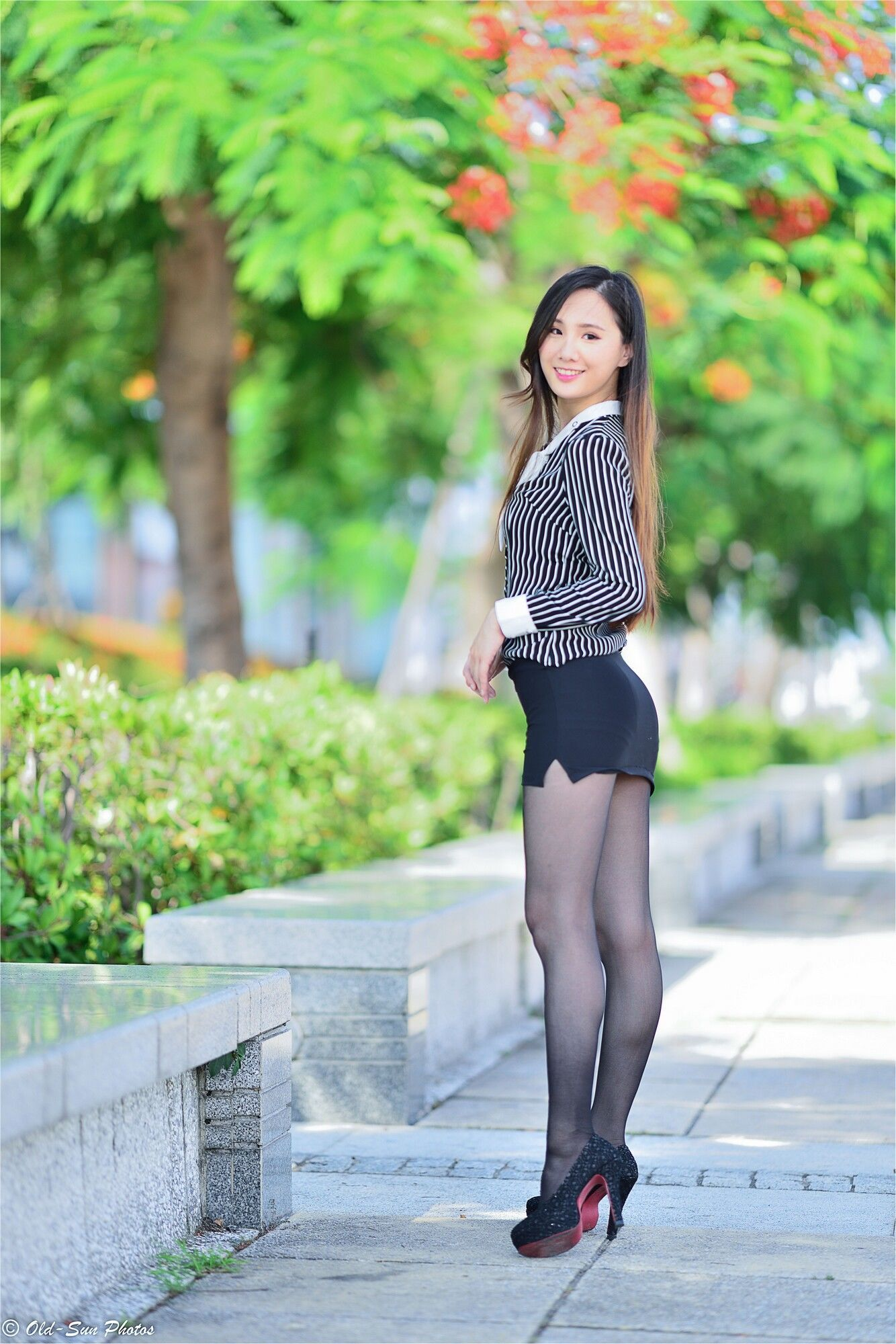 Short skirts and stockings