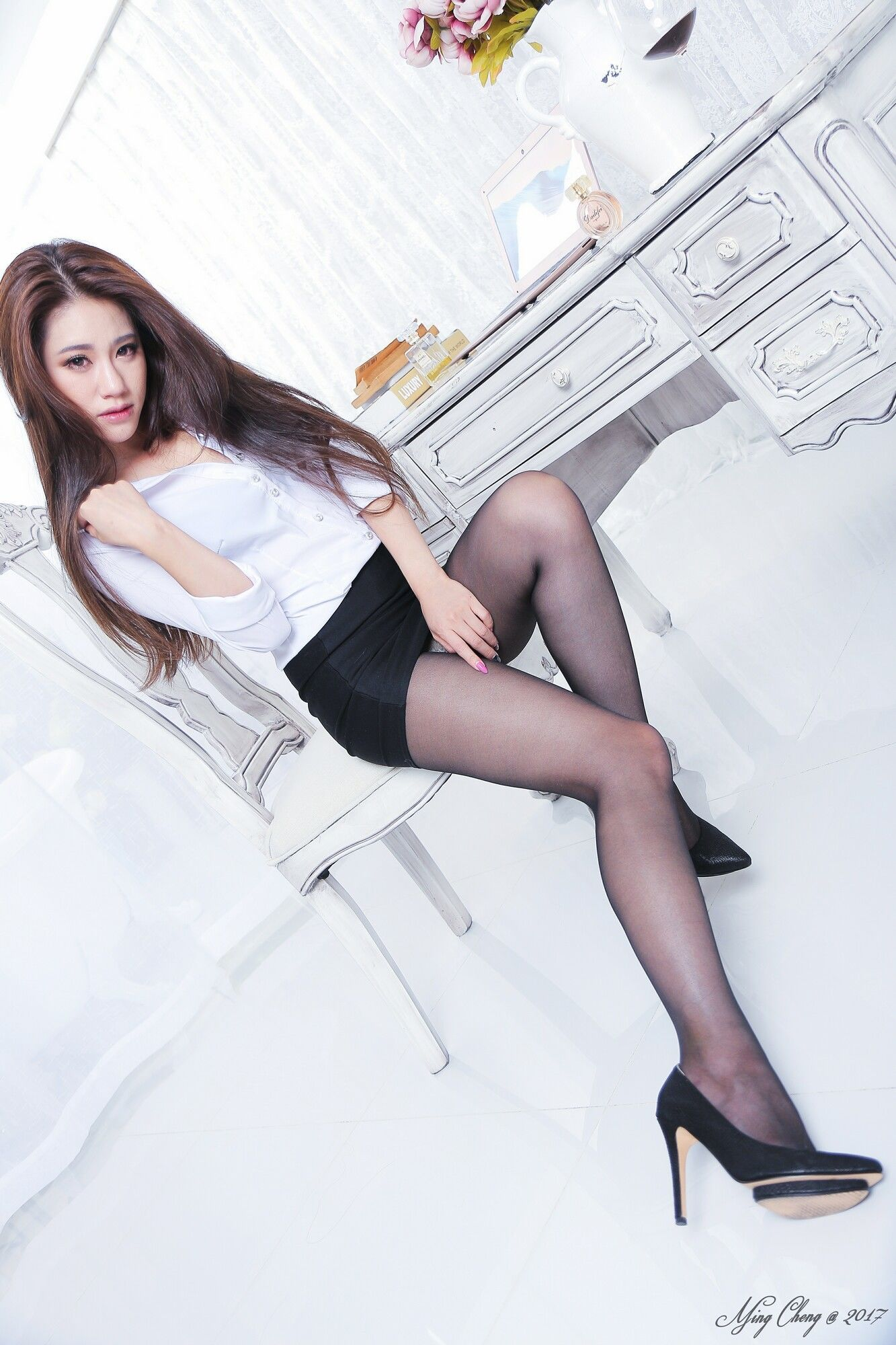 Silk stockings and high heels