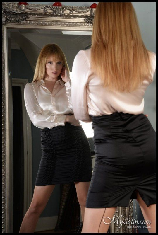 Satin Blouse With Pantyhose Or Stockings The Intimate Touch