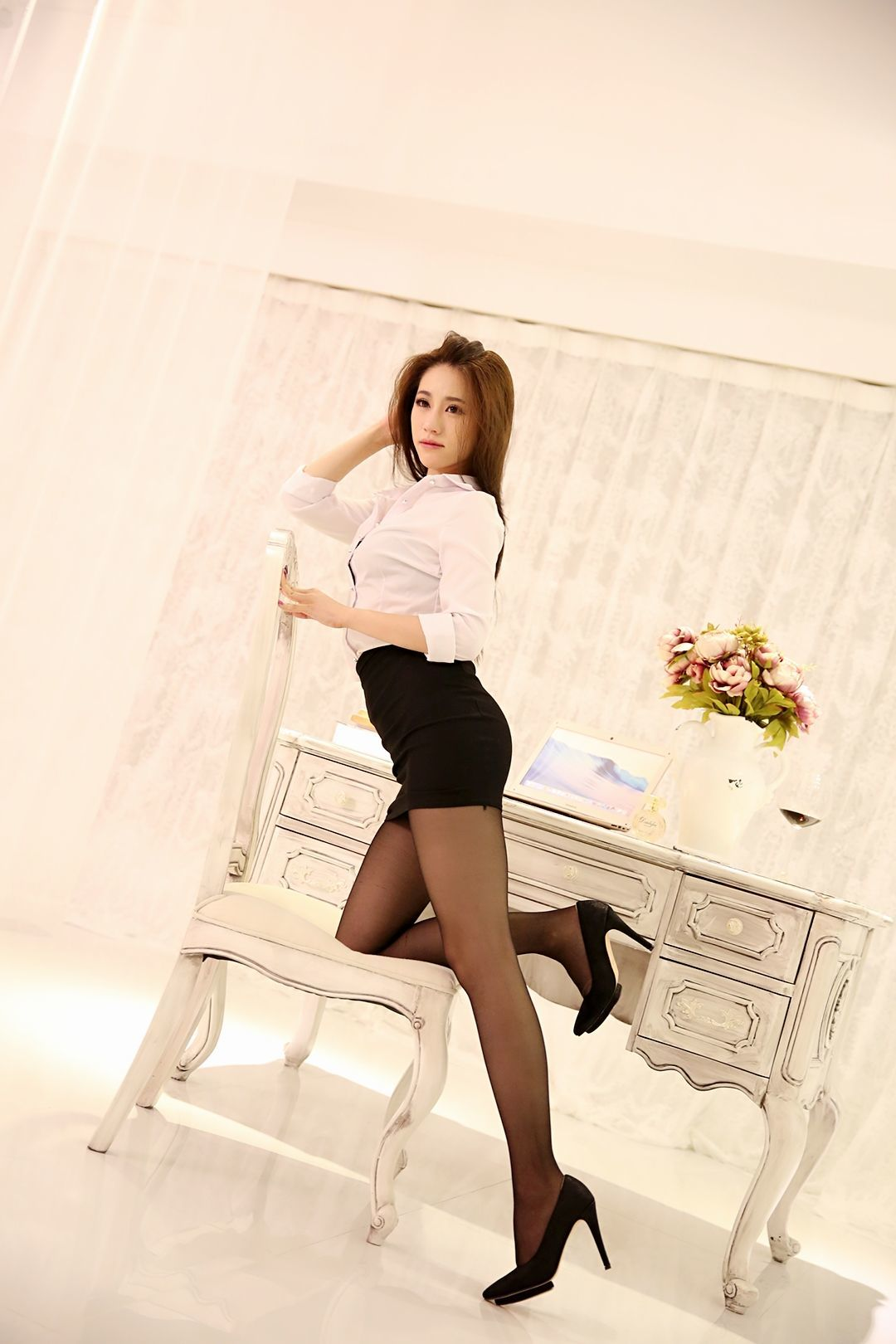 My New Secretary Seducing Me With Tight Skirt Pantyhose