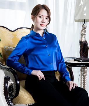 blue satin blouse