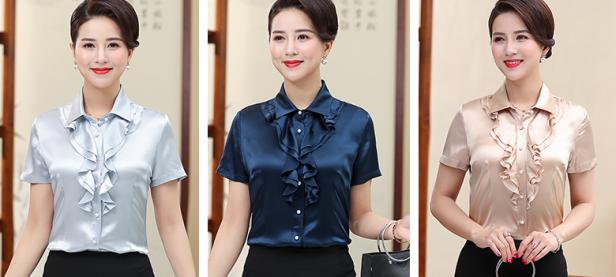 ladies short sleeve satin blouse