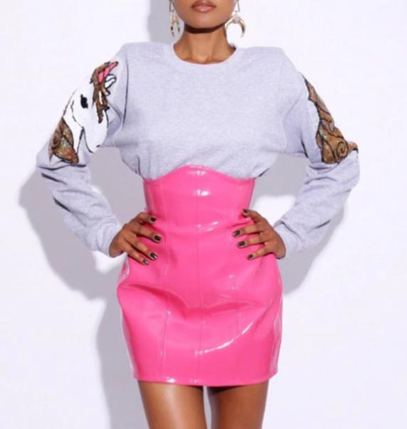 latex shiny high waist skirt
