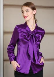 purple ribbon satin blouse