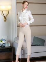 white button up satin blouse