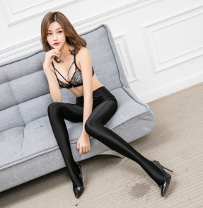 Leohex Shiny Tights Black
