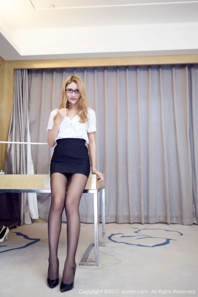 My Beautiful Secretary Solo Seducing Me In Tight Short Skirt, Pantyhose & Heels