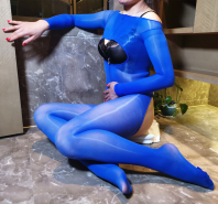 Oil Shine Open Bust Bodystocking Blue