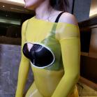 Oil Shine Open Bust Bodystocking Yellow 2