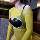 Oil Shine Open Bust Bodystocking Yellow 2