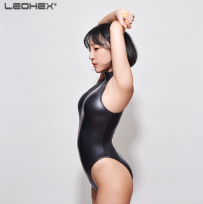 Black Leohex Wet Look Shiny Bodysuit Swimsuit Side