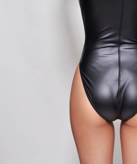 Black leohex wetlook bodysuit 2
