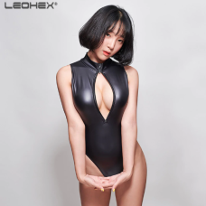 Black leohex wetlook bodysuit 4