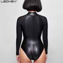 Leohex Black Long Sleeve Wet Look Shiny Bodysuit Swimsuit Back