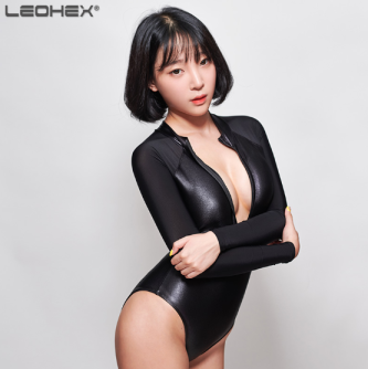 Leohex Black Long Sleeve Wet Look Shiny Bodysuit Swimsuit